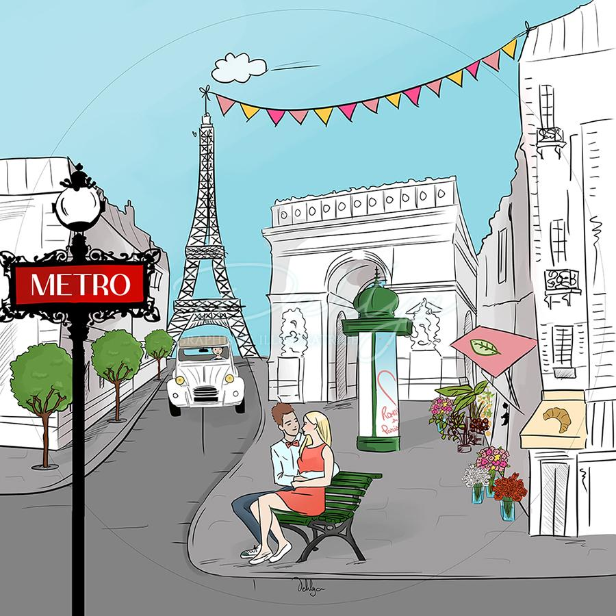 Illustration Paris pour Happy Paille