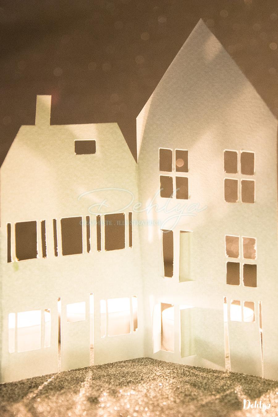 diy paper things photophore village de no l dehlya. Black Bedroom Furniture Sets. Home Design Ideas