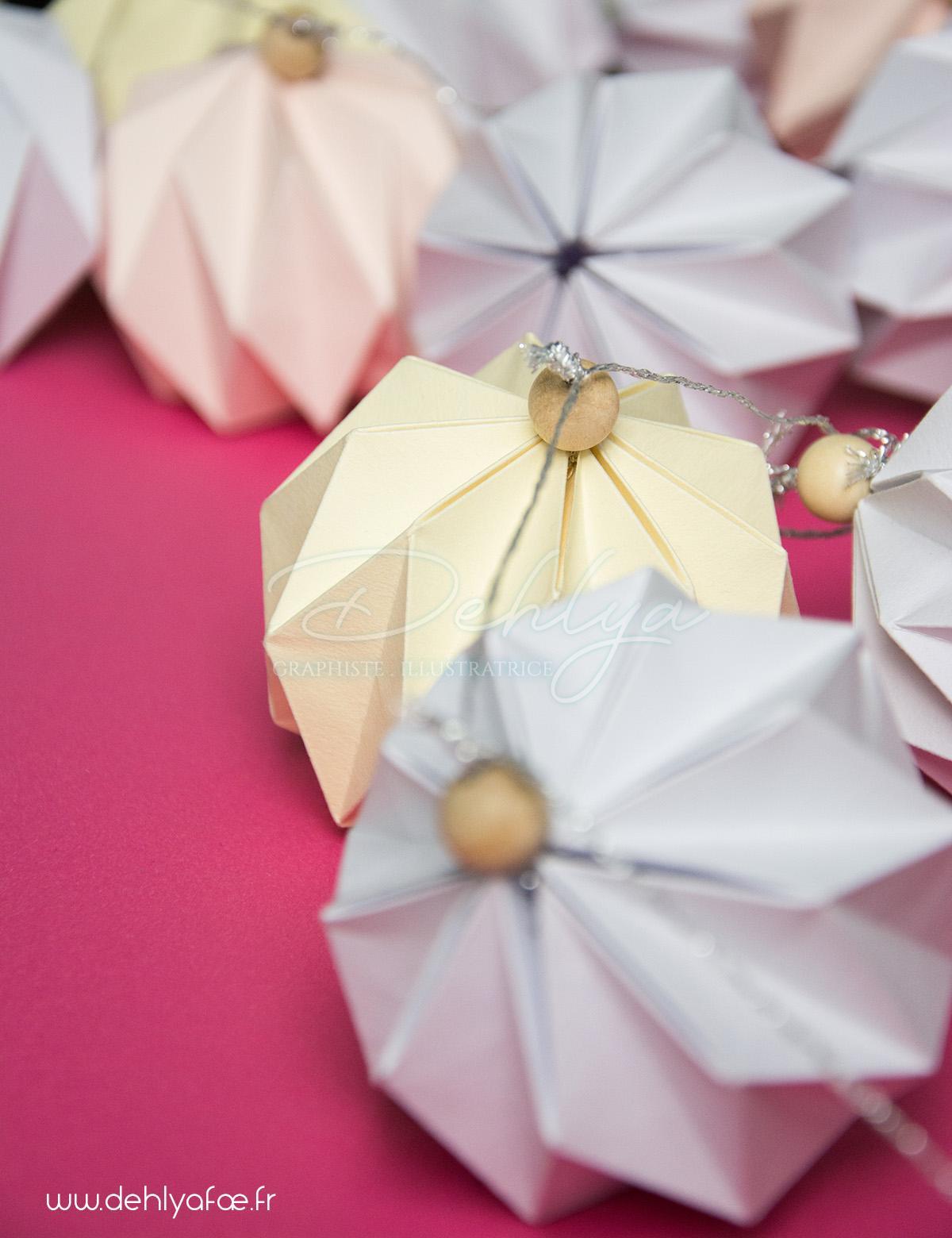 boules diamant origami