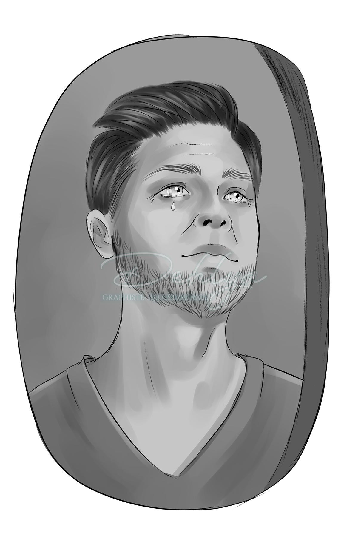 Portrait réaliste noir et blanc